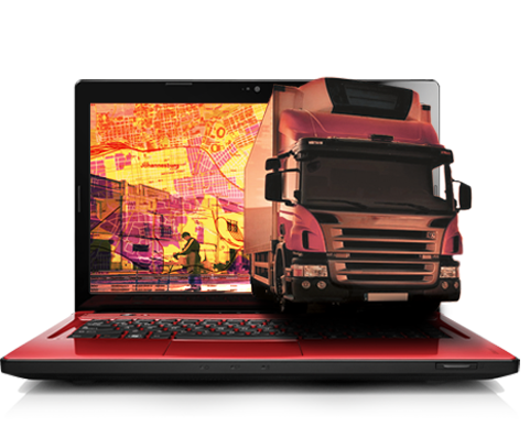 digit fleet and fuel management camera system truck on laptop